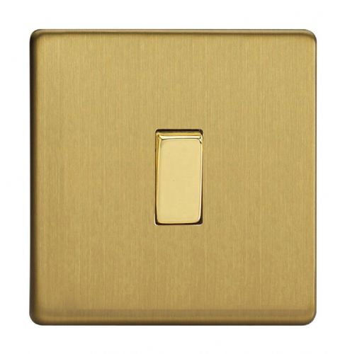 Varilight XDB1S Screwless Brushed Brass 1 Gang 10A 1 or 2 Way Rocker Light Switch